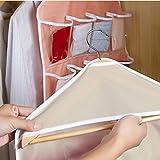 LtrottedJ 16Pockets Clear Hanging Bag Socks Bra Underwear Rack Hanger Storage Organizer (Beige)