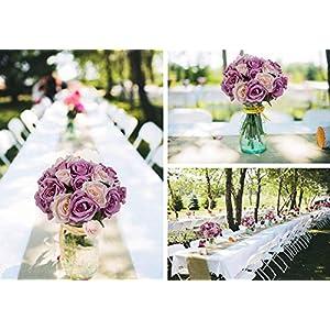 MARJON FlowersArtificial Flowers Rose Bouquet, Fake Flowers Silk Plastic Artificial Floral Roses 9 Heads Bridal Wedding Bouquet for Home Garden Party Wedding Decoration (Purple-White) 3