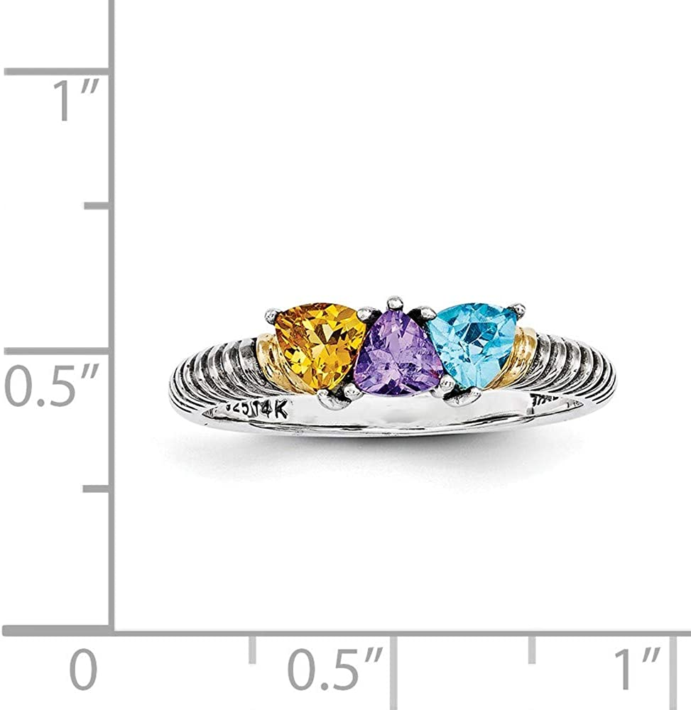 Family Celebration Mountings Sterling Silver and 14k Three-stone Mothers Ring Mounting Size 5