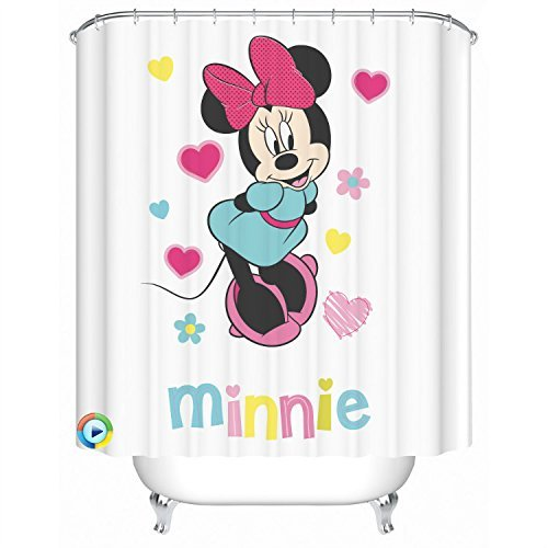 Minnie Theme Fabric Shower Curtain Waterproof, Heavy Duty Bathroom Curtain, 72-Inch by 72-Inch, Cartoon