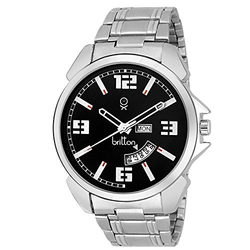 BRITTON Day Date Functioning Analogue Black Dial Men #39;s Watch   BR GR181 BLK CH