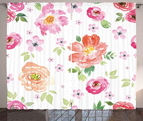 Ambesonne Floral Curtains, Shabby Chic Garden Flowers Roses Tulips Watercolor Abstract Art, Living Room Bedroom Window Drapes 2 Panel Set, 108W X 84L Inches, Hot Pink Light Pink and Orange