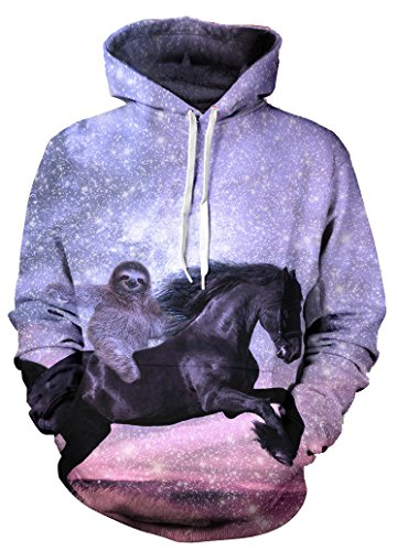Beloved Shirts Majestic Sloth Hoodie – Premium All Over Print Graphic Hoodies – Large