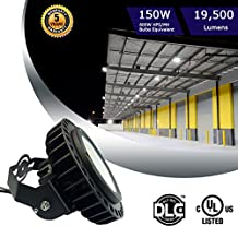150W UFO LED High Bay Lighting Luxeon SMD 3030 LED MeanWell Driver with Mount Bracket Ultra Efficient 130 Lumens to Watts White Light DLC Certified 5000K Waterproof New Well Don