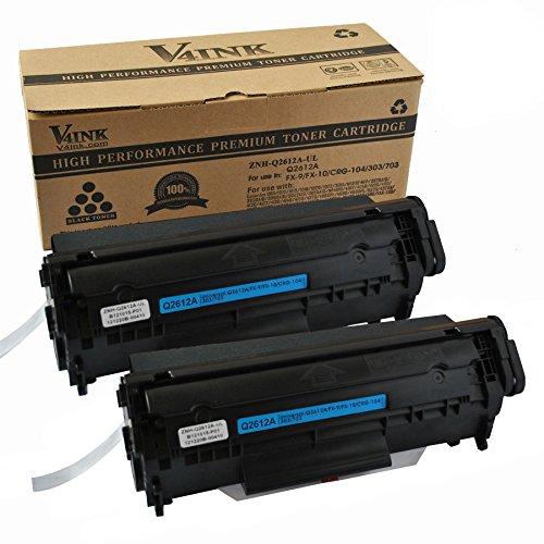 V4INK 2-Pack Q2612A Toner Cartridge For 12A Q2612A Toner Cartridge HP Laserjet Printer 1010 1012 1015 1018 1020 1022 1022n 1022nw 3015 M1005 M1319F - Black