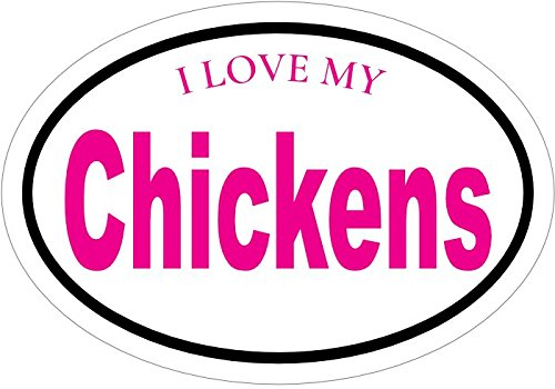 (WickedGoodz Oval I Love My Chickens Vinyl Decal - Hen Rooster Bumper Sticker - Perfect Poultry Gift)