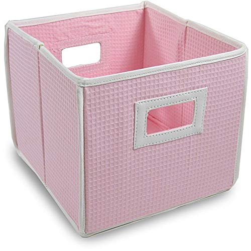 Badger Basket Pink Waffle Folding Storage Cubes (Set of 3)
