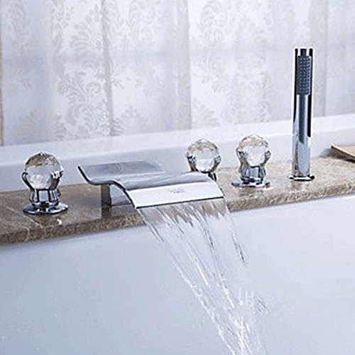 Crystal Roman Tub - KunMai Widespread Waterfall Crystal Handles