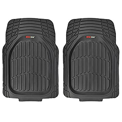 Motor Trend 4pc Black Car Floor Mats Set Rubber Tortoise Liners w/ Cargo for Auto SUV Trucks - All Weather Heavy Duty Floor Protection - MT-923-BK+MT-884-BK_amj: Automotive