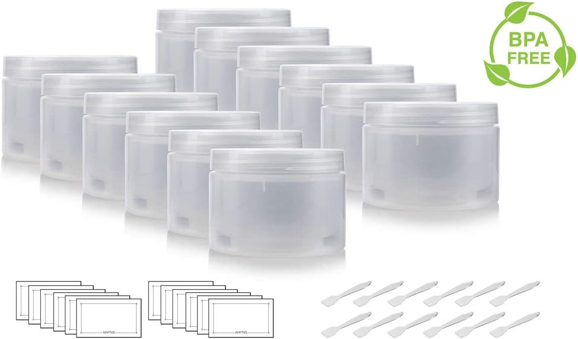 Natural Clear 8 oz Double Wall Plastic Refillable Jar (12 PACK) + Spatulas and Labels [並行輸入品]