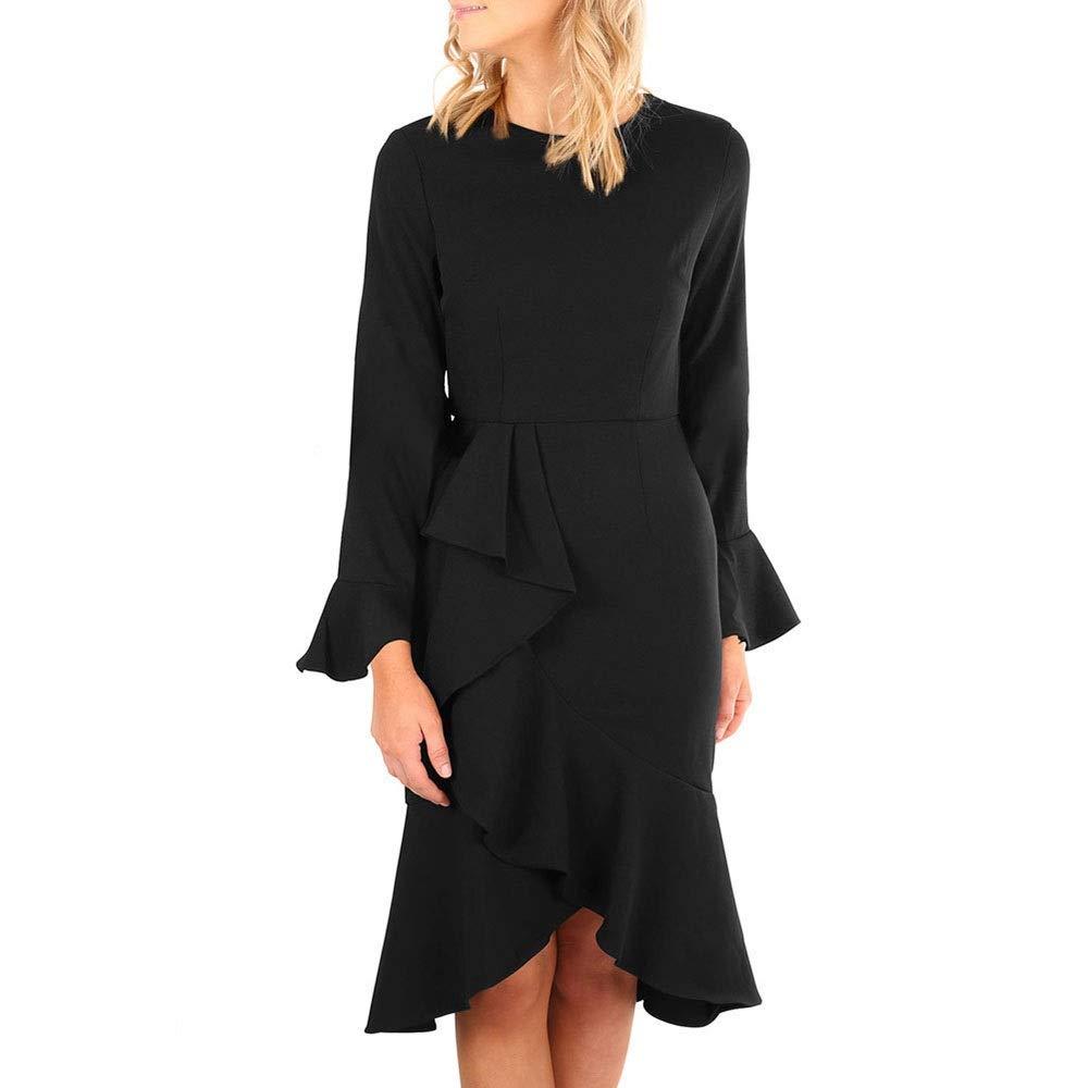 Black Sylviaan YY6 Women's Bell Sleeve Crew Neck Irregular Bodycon Dress