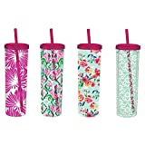 Cypress Home Beautiful Blooms Acrylic Travel Cup with Reusable Ice Cubes, 16 ounces, Set of 4