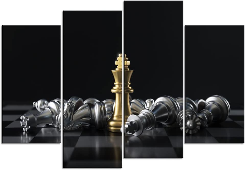 sechars - 4 Piece Canvas Print Set Chess King Wins Game Poster Modern Office Wall Decorations Classroom Study Room Wall Decor Art Stretched Gallery Canvas Wrap Giclee Artwork Ready to Hang