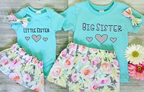 18d650bcb1ac1 Amazon.com: Matching Big Sister Little Sister Outfits in Turquoise and  floral print skirts: Handmade
