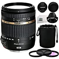 Tamron AF 18-270mm f/3.5-6.3 VC PZD All-In-One Zoom Lens for Canon DSLR Cameras with 3 Piece Filter Kit (UV-CPL-FLD), Protective Lens Carrying Pouch & Microfiber Cleaning Cloth