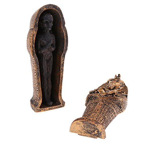 Baoblaze DIY Ancient Black Mummy Statue Model + Coffin Miniature Set for Sandplay Sand Table Games Kits Toys 1.37 x 1.49 x 3.74inch (Sandplay Kit)