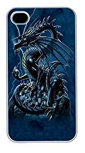 IPhone 4S Cases Skull Dragon Polycarbonate Hard Case Back Cover for iPhone 4/4S White