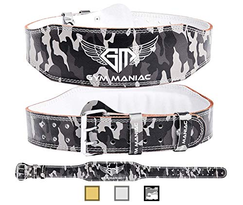 Gym Maniac GM Weight Lifting Waist Gym Belt | Adjustable Size, 2 Prong Buckle, Comfy Suede, Reinforced Stitching | Support Your Back & Alleviate Pains (CAMO, Medium)