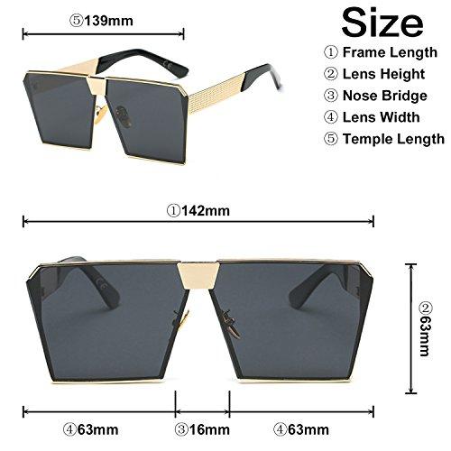 oscuro de efecto para mujeres las Espejo de tamaño Gris Gafas lente sol cuadrado polarizada gran amztm reflectante az544q