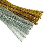 CHRISTMAS Set of 100 Metallic Tinsel Pipe Cleaners for Kids Crafts, Embellishing and Group Projects (Silver, Gold)