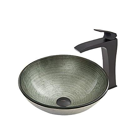VIGO Simply Silver Glass Vessel Bathroom Sink and Blackstonian Vessel Faucet with Pop Up, Matte Black