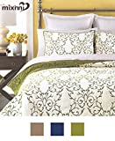 Reversible 100% Cotton 3-Piece Green Embroidery Pattern Elegant Quilt Set with Embroidered Decorative Shams Soft Bedspread&Coverlet Set-King by mixinni