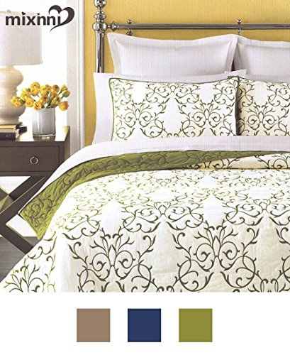 Green Cotton Quilt (Reversible 100% Cotton 3-Piece Green Embroidery Pattern Elegant Quilt Set with Embroidered Decorative Shams Soft Bedspread&Coverlet Set-Full/Queen by mixinni)