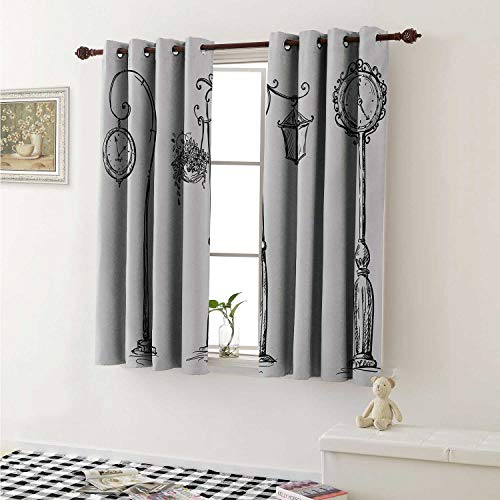 shenglv Lantern Room Darkening Wide Curtains Classic Street Clocks Architectural Urban Devices Luminousness Drawing Window Curtain Drape W108 x L72 Inch Charcoal Grey White