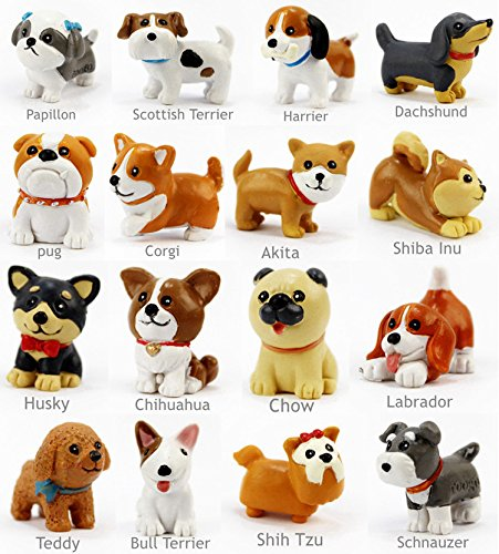 16 pcs/Set kawaii resina en miniatura perro Mini dibujos animados ...