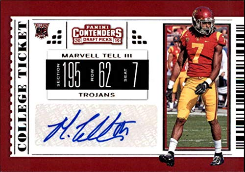 2019 Panini Contenders Draft Tickets College Ticket #193 Marvell Tell III RC Rookie AUTO USC Trojans NCAA Football Trading Card