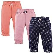 Hudson Baby Cotton Pants, 3 Pack, Navy Polka dots, 0-3 Months (3M)