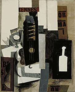 'Glass, Guitar, and Bottle' oil painting, 10x12 inch / 25x31 cm ,printed on Linen Canvas ,this Best Price Art Decorative Prints on Canvas is perfectly suitalbe for Laundry Room artwork and Home artwork and Gifts