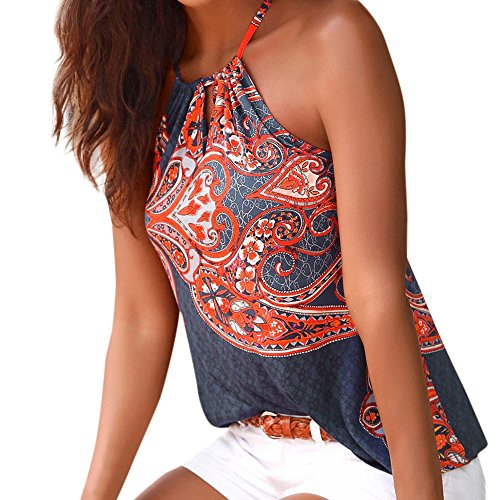 (HGWXX7 Womens National Wind Print Sleeveless Strappy Casual BlouseVest Tank Tops (M, Navy))