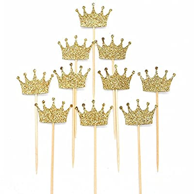 Shoppingmoon Gold Glitter Crown Cake Cupcake Topper for Wedding Party Decoration Pack 20pcs