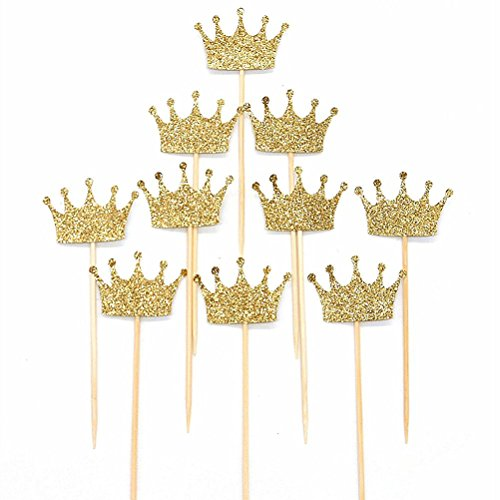 JANOU Gold Glitter Crown Cake Cupcake Topper for Wedding Party Decoration Pack - Cupcake Assembled
