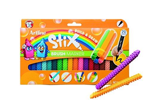 Artline Stix Brush Markers, Assorted Color Set of 20 - Magenta Stix