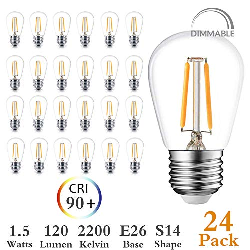 Newpow S14 Led Light Bulbs, 24 Pack Dimmable Edison Glass Bulbs for Waterproof Outdoor String Lights, 1.5W Replacement Incandescent Bulb (11w - 30w), Warm Color 2200k - UL Listed (Best Outdoor Led Light Bulbs)