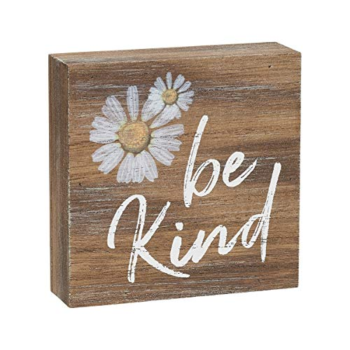 (Collins Painting 'Be Kind' Inspirational Wood Grain Mini Block Sign, 3.5