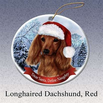 Holiday Pet Gifts Dachshund Longhair (Red) Santa Hat Dog Porcelain Ornament