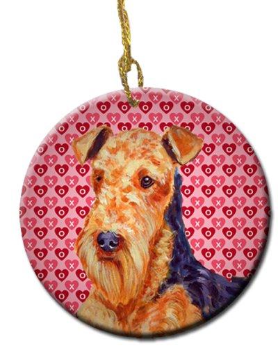 Multicolor Carolines Treasures LH9156CO1 Airedale Valentines Love and Hearts Ceramic Ornament