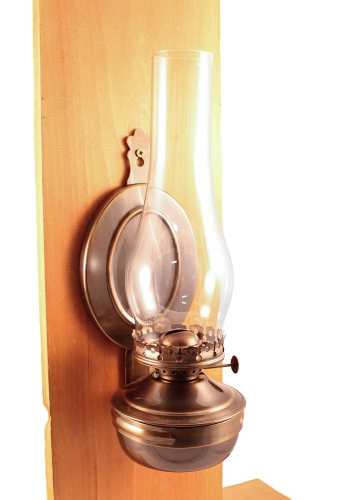 Vermont Lanterns ''Mansfield Brass Hanging Wall Oil Lamp 14'' (Antique Brass) by Vermont Lanterns