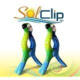 Beach Towel Clips, pegs, clothespins, épingles, pinces à serviette de plage, SolClip Canada, Parrot Blue Macaw