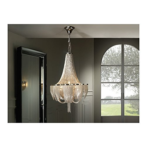 Schuller Spain 872853I4L Traditional Chrome Ceiling Chandelier nickel 10 Light Dining Room, Living Room LED | ideas4lighting by Schuller