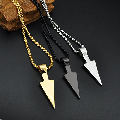 PAURO Men's Stainless Steel Jewelry Spearhead Indian Arrowhead Pendant Spear Point Arrow Necklace Black with Chain by PAURO (Image #2)
