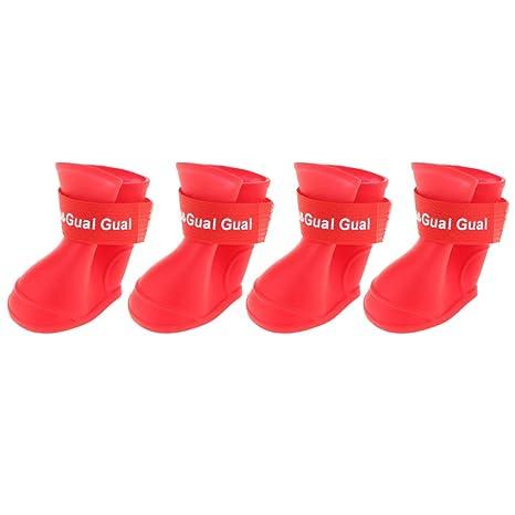 Baoblaze 4X Botas de Lluvia Impermeables de Animal Doméstico Gato Perrito Patean Zapatos Antideslizantes Accesorios -