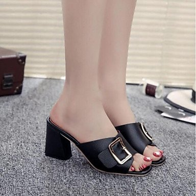RUGAI-UE Las mujeres de verano sandalias casuales zapatos de tacones PU Confort,Negro,US8.5 / UE39 / UK6.5 / CN40 Black