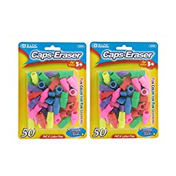 Bazic Pencil Top Erasers, Assorted Colors, Pack of 100