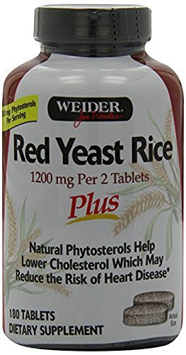 Weider Red Yeast Rice Plus with Phytosterols 1200 mg ki1ws 2Pack (180 Tablets ) by Weider