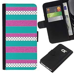 All Phone Most Case / Oferta Especial Cáscara Funda de cuero Monedero Cubierta de proteccion Caso / Wallet Case for Samsung Galaxy S6 EDGE // Purple Teal Pattern
