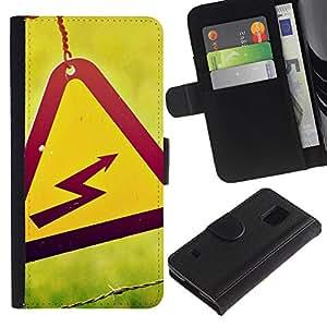 YiPhone /// Tirón de la caja Cartera de cuero con ranuras para tarjetas - Peligro alto voltaje - Samsung Galaxy S5 V SM-G900